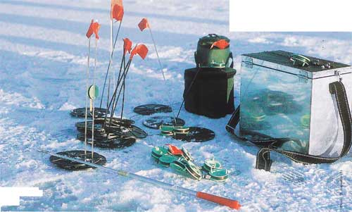 Tackle for winter fishing. Gear for winter pike