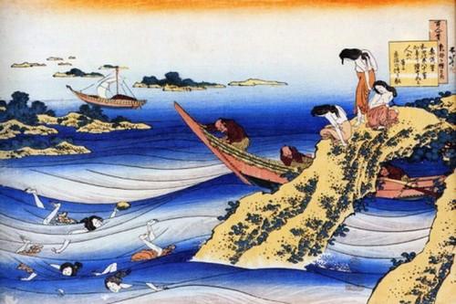 Японские ныряльщицы за жемчугом - ама - старинная гравюра