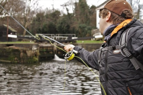 Ben Fox Fly fishing for pike on a canal