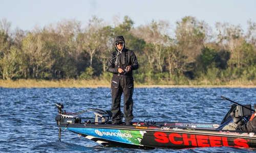Josh Douglas bass fishing in the wind