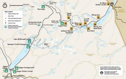 Shuttle Stops - Glacier National Park (U.S. National Park Service)